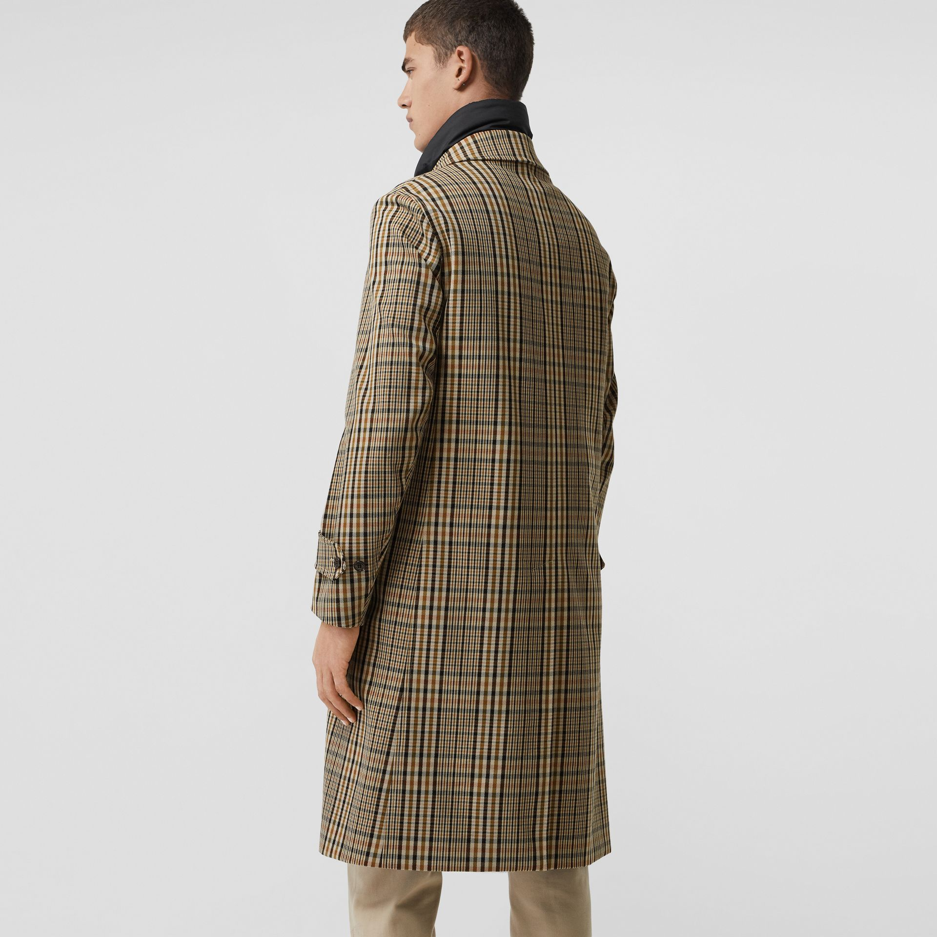 Check Car Coat with Detachable Gilet in Dark Camel - Men | Burberry - gallery image 2