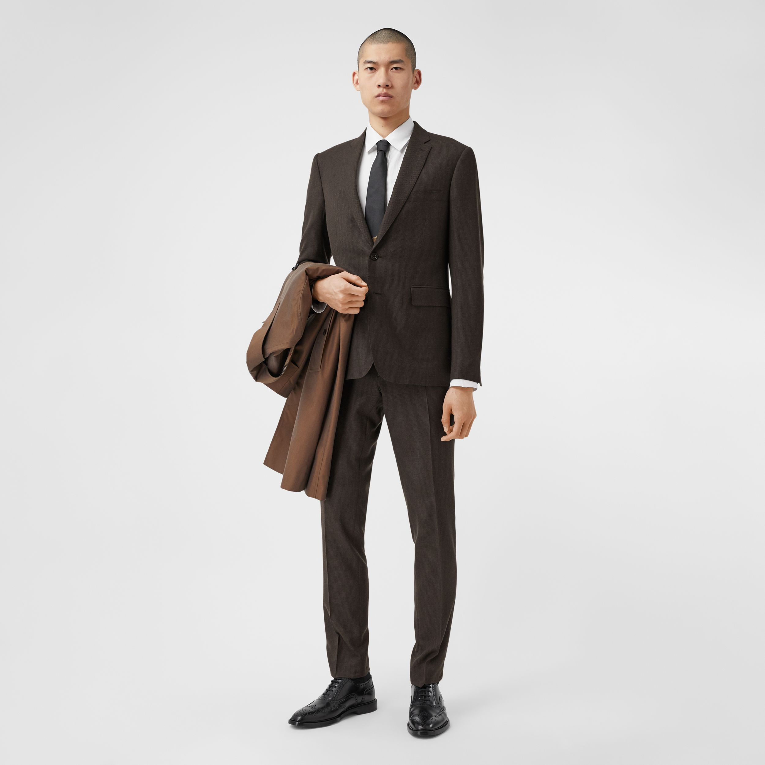 Slim Fit Puppytooth Check Wool Suit in Dark Brown - Men | Burberry Australia - 1