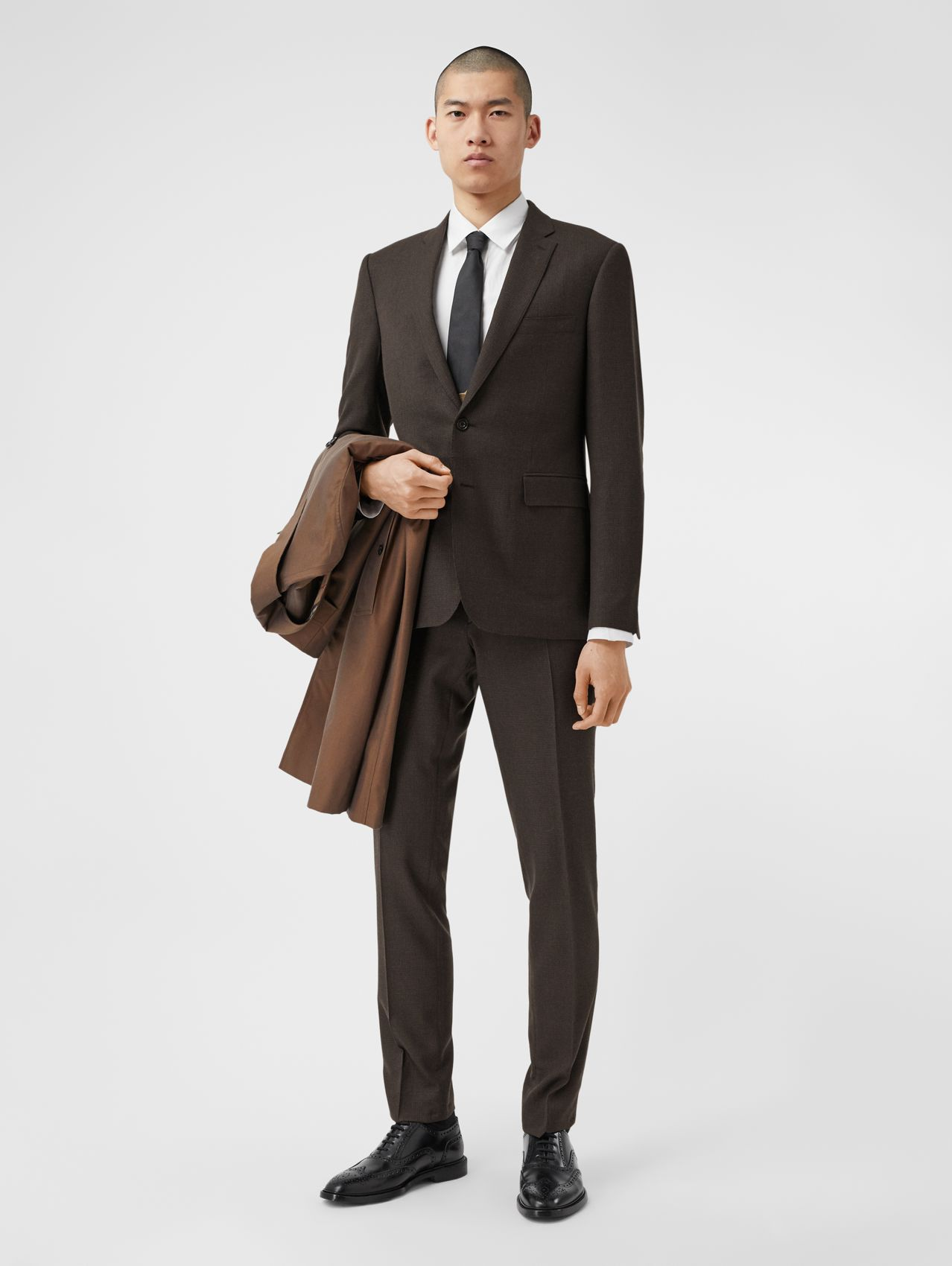 Slim Fit Puppytooth Check Wool Suit in Dark Brown