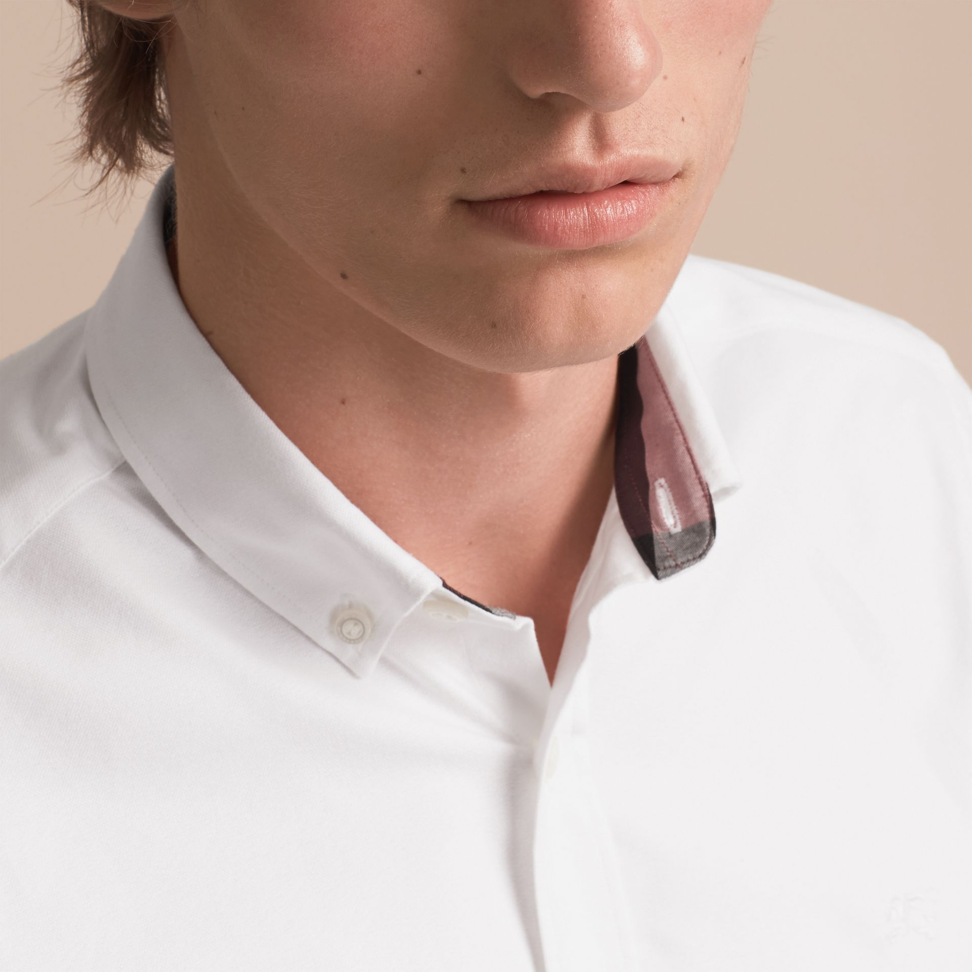 Button-down Collar Cotton Oxford Shirt with Check Detail in White - gallery image 5