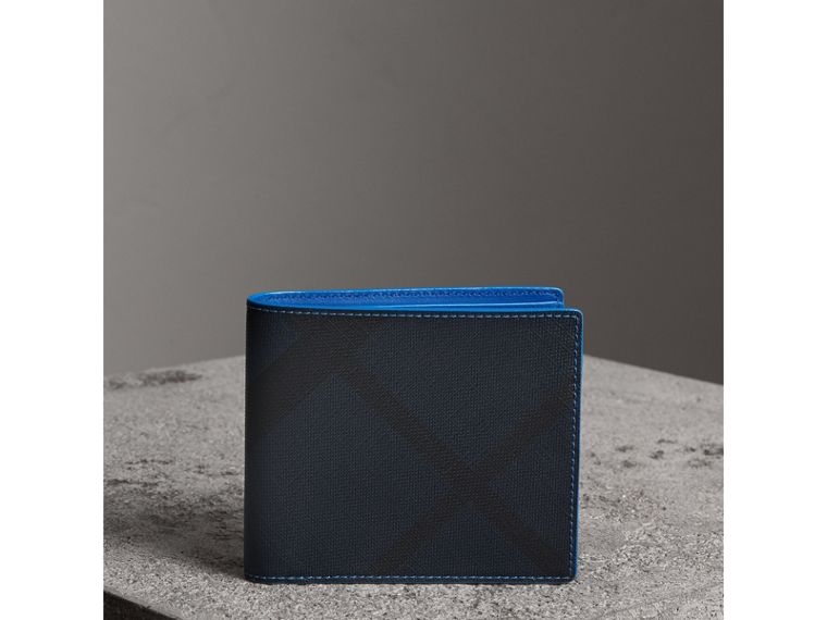 London Check and Leather International Bifold Wallet in Navy/ Blue - Men | Burberry - cell image 4