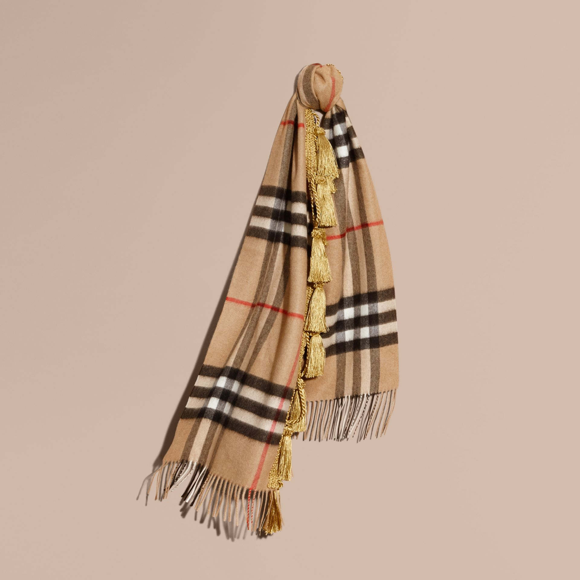 Camel The Classic Cashmere Scarf in Check with tassels - gallery image 6