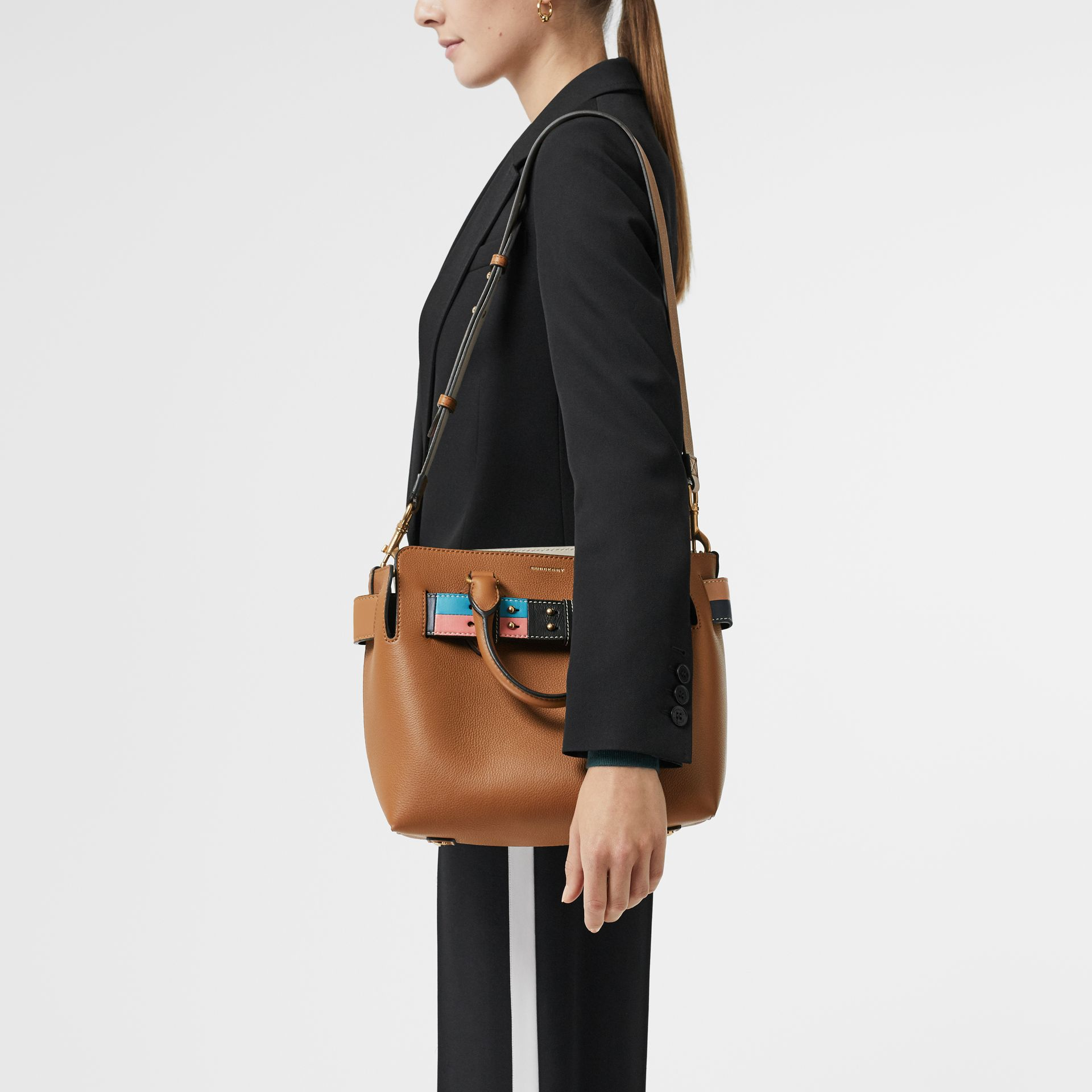 The Small Leather Colour Block Detail Belt Bag in Cognac - Women | Burberry - gallery image 3
