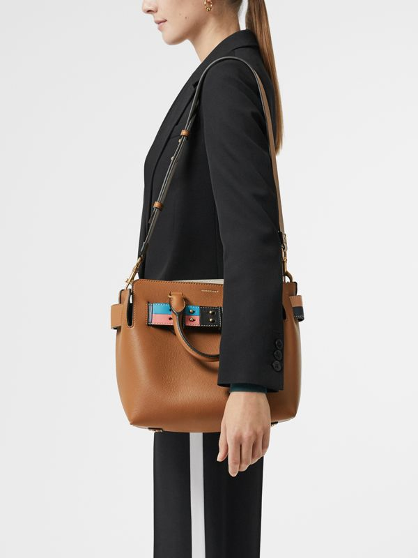 The Small Leather Colour Block Detail Belt Bag in Cognac - Women | Burberry Singapore - cell image 3