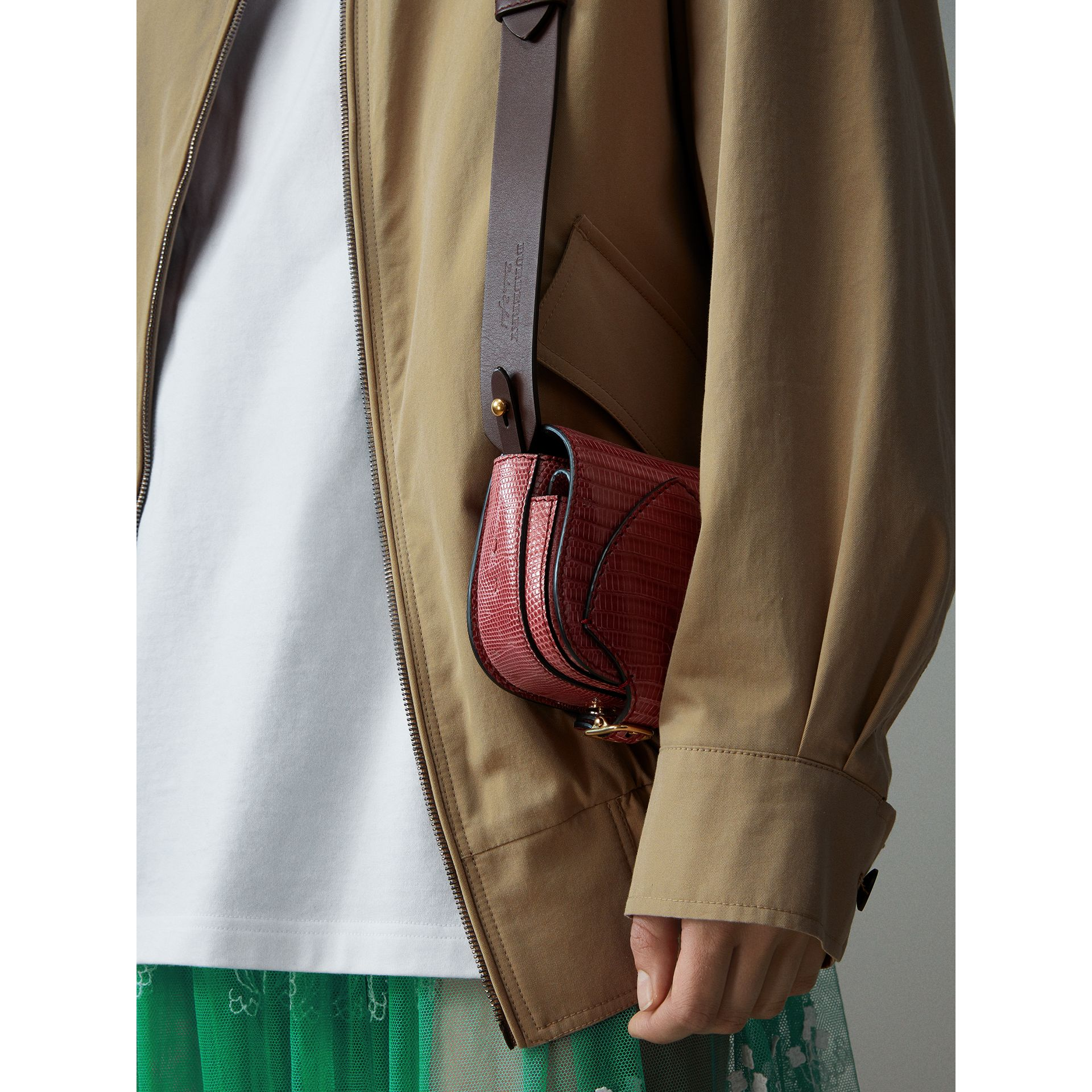 The Pocket Satchel in Lizard in Dark Crimson - Women | Burberry Australia - gallery image 2