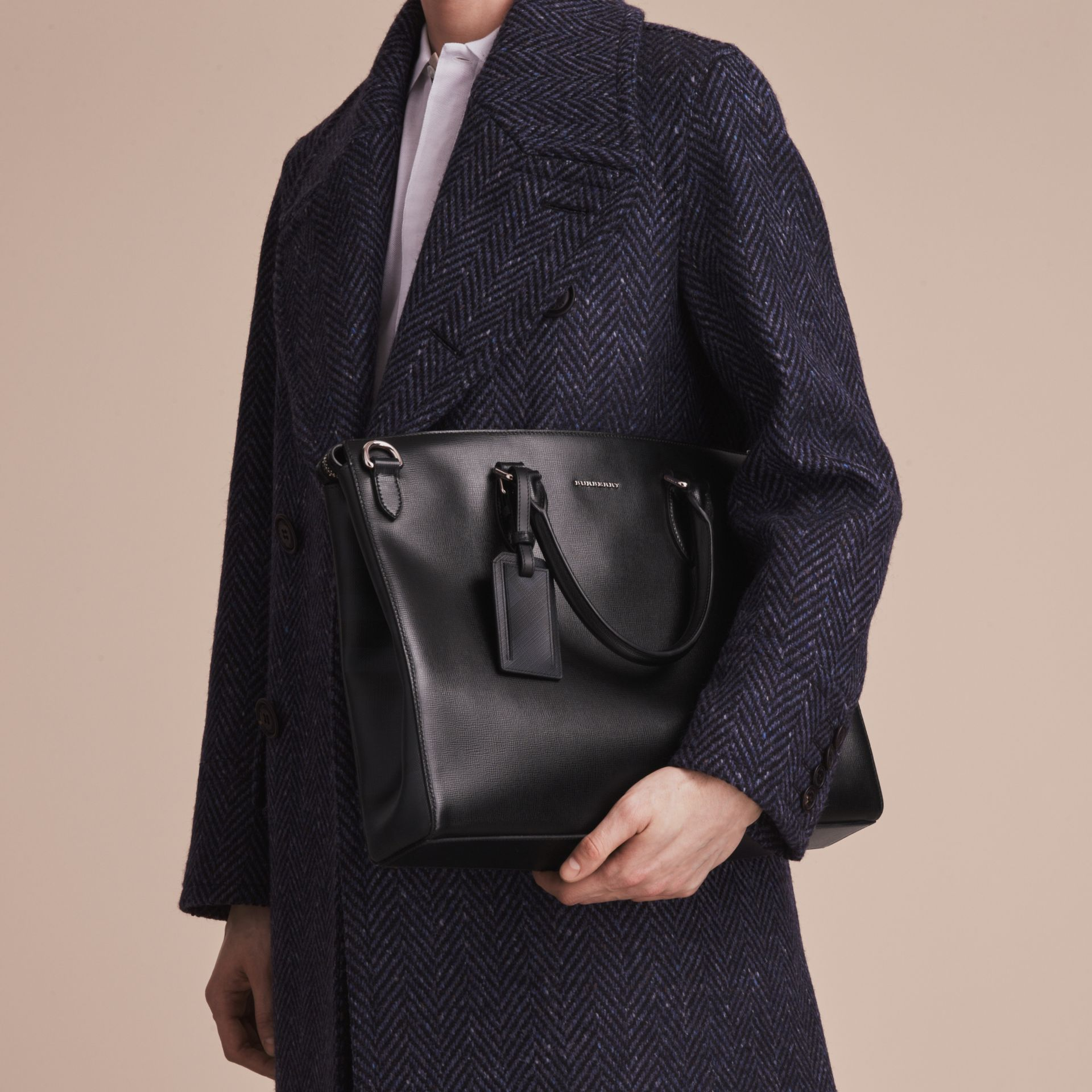 Large London Leather Briefcase Black - gallery image 5