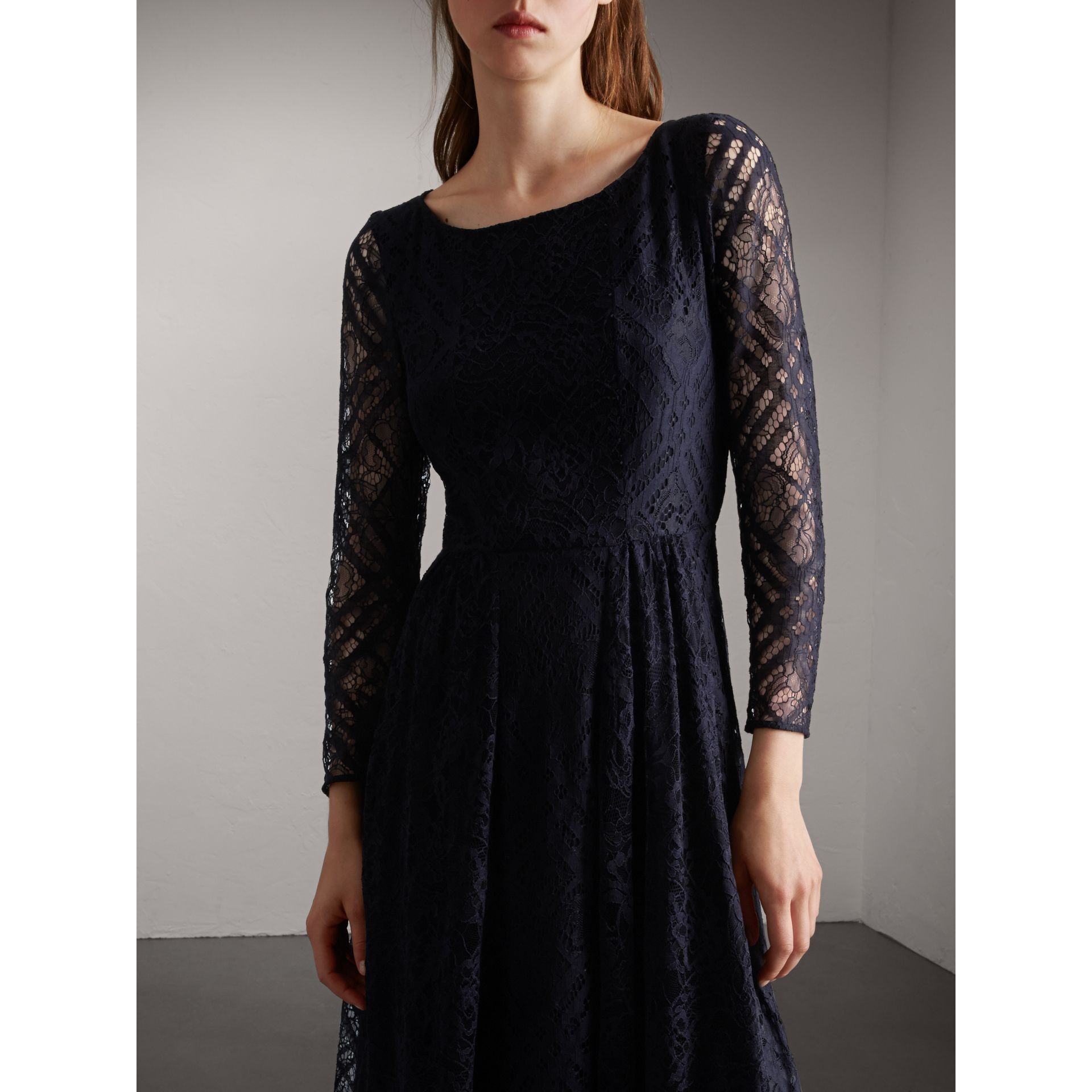 Check Lace Floor-length Dress in Navy - Women | Burberry - gallery image 5