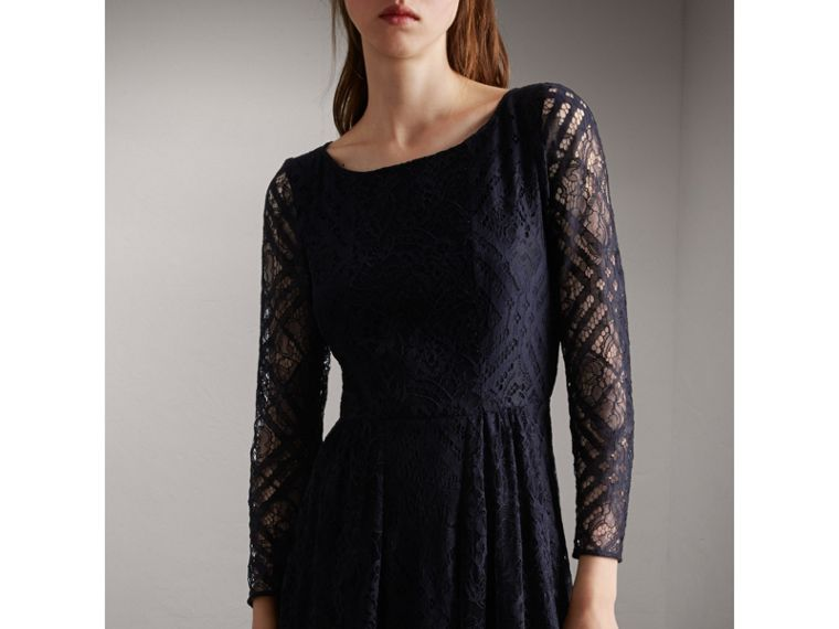 Check Lace Floor-length Dress in Navy - Women | Burberry - cell image 4