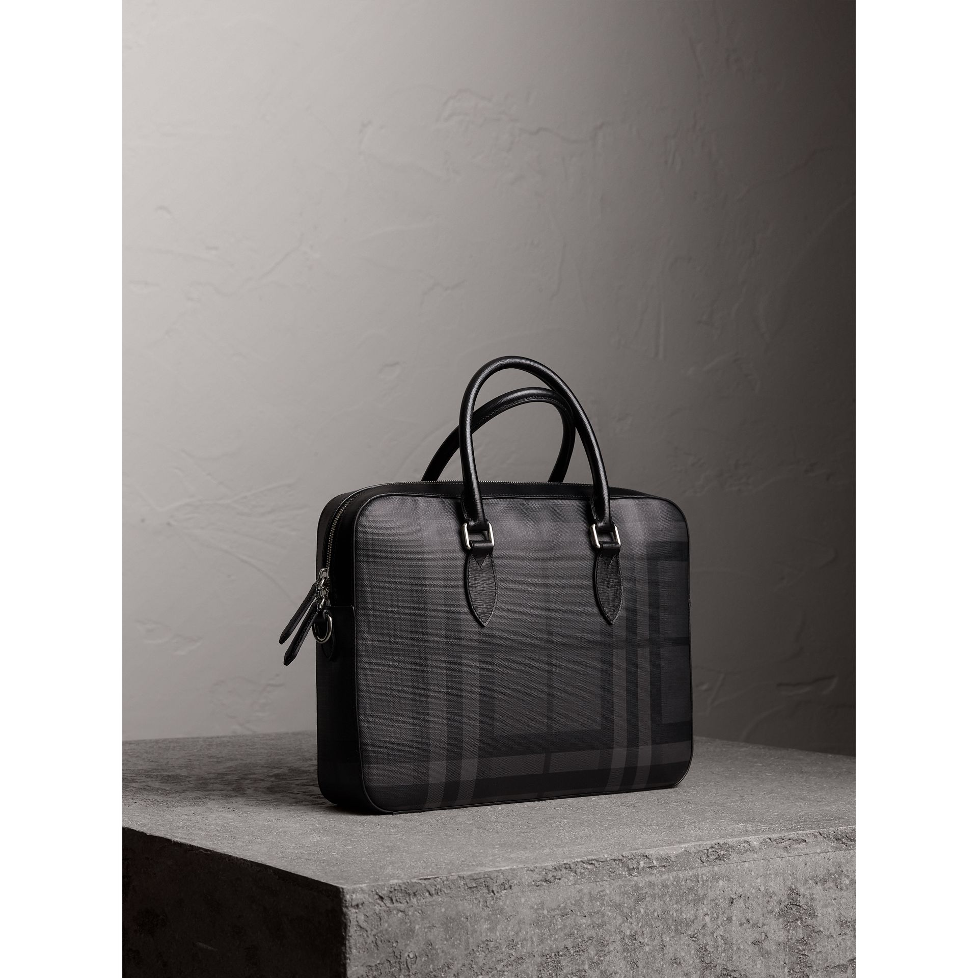 Medium Leather Trim London Check Briefcase in Charcoal/black - Men | Burberry Singapore - gallery image 7
