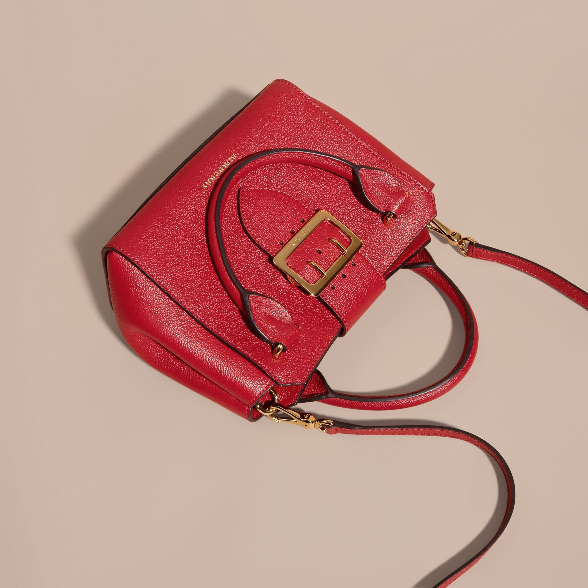 Parade red The Small Buckle Tote in Grainy Leather Parade Red - gallery image 3