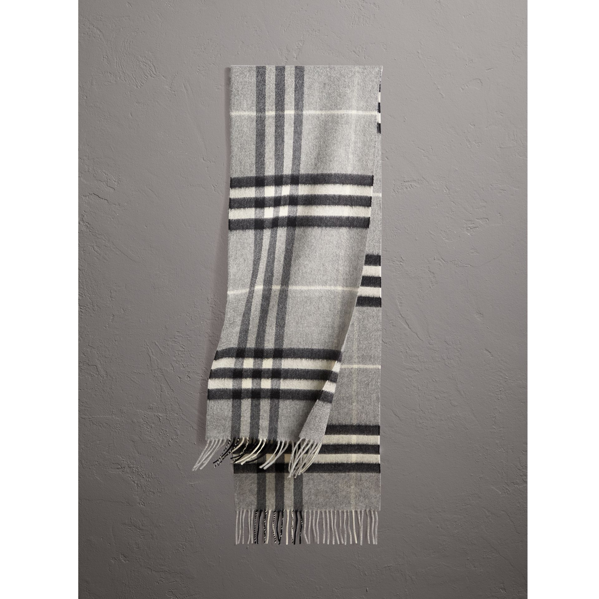 The Classic Check Cashmere Scarf in Pale Grey | Burberry - gallery image 1