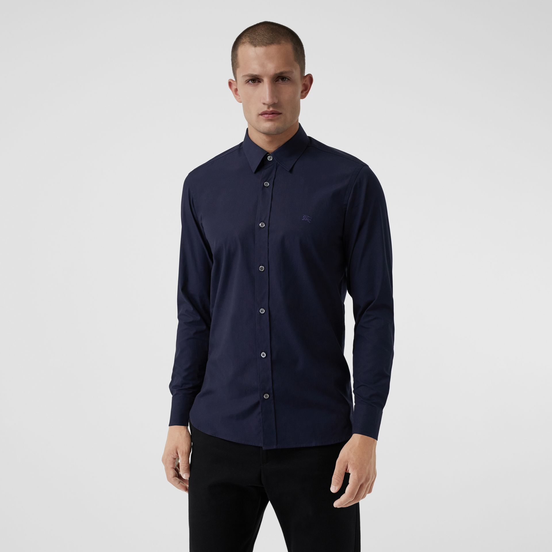 Check Cuff Stretch Cotton Poplin Shirt in Navy - Men | Burberry - gallery image 0