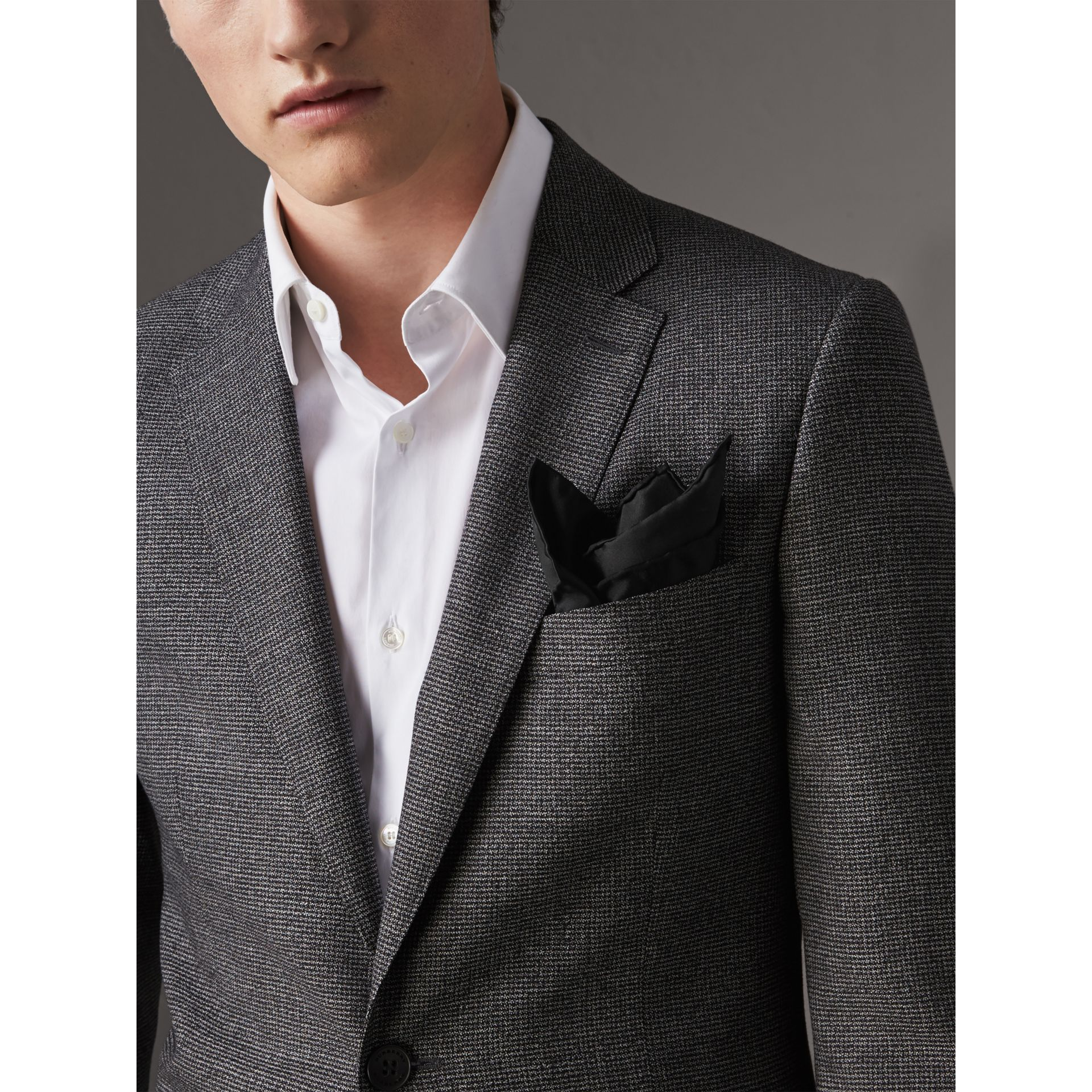 Silk Pocket Square in Black - Men | Burberry United Kingdom - gallery image 3