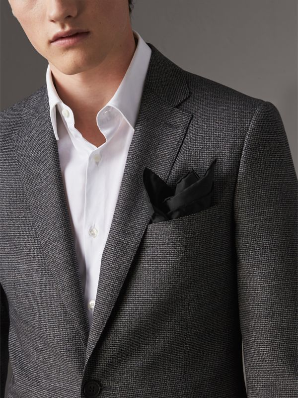 Silk Pocket Square in Black - Men | Burberry Canada - cell image 2
