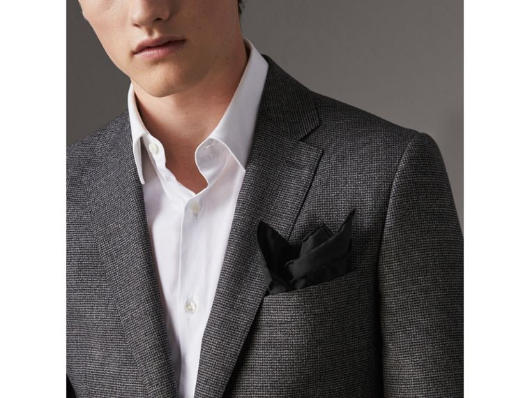 Silk Pocket Square in Black - Men | Burberry United Kingdom - cell image 2