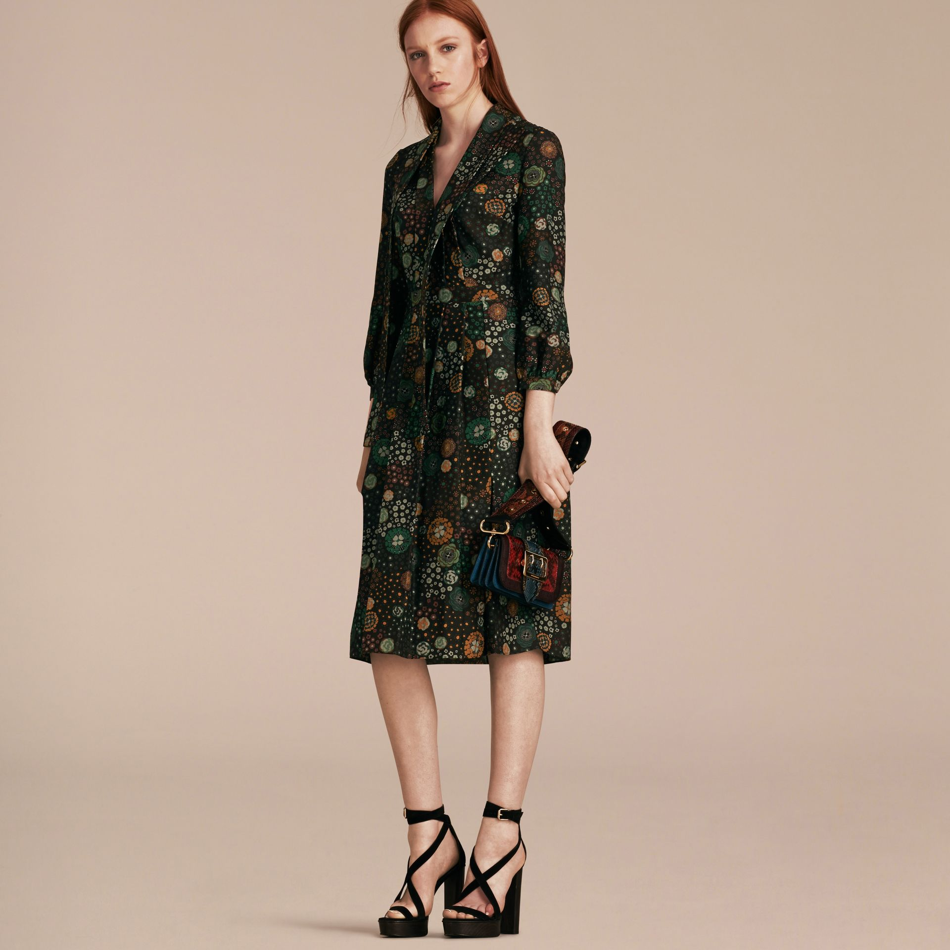 Pigment green Floral Silk Dress - gallery image 6