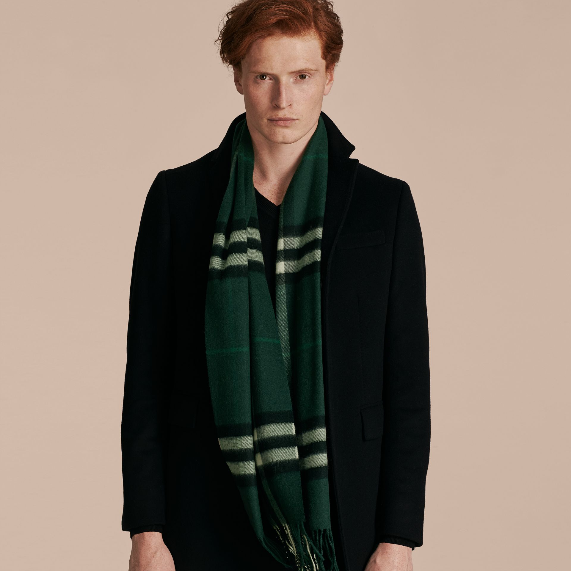 The Classic Cashmere Scarf in Check in Dark Forest Green - gallery image 4