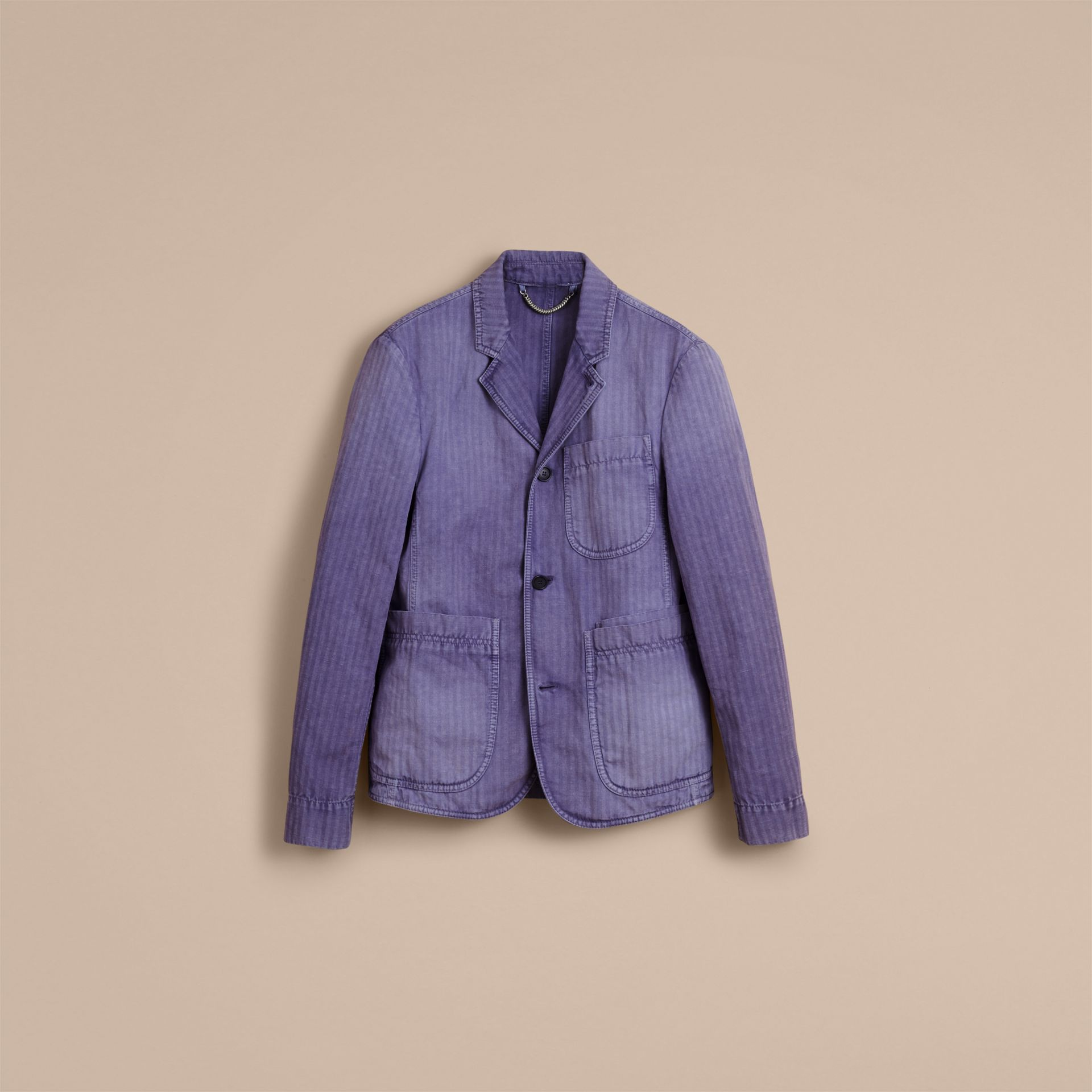 Herringbone Cotton Linen Workwear Jacket in Indigo - Men | Burberry - gallery image 3