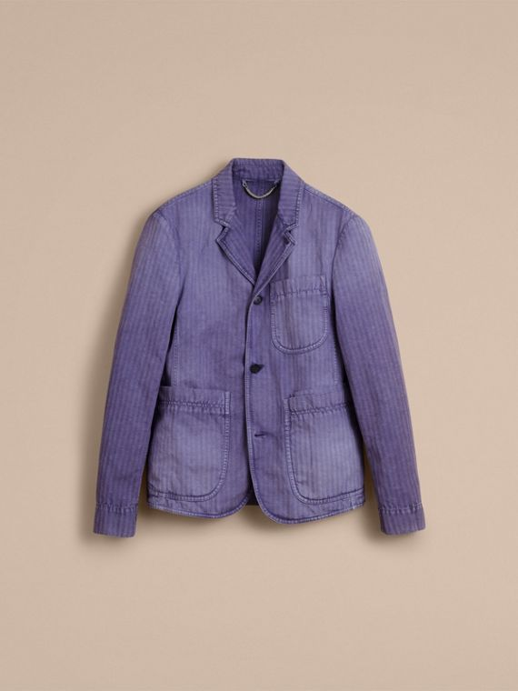 Herringbone Cotton Linen Workwear Jacket in Indigo - Men | Burberry - cell image 3