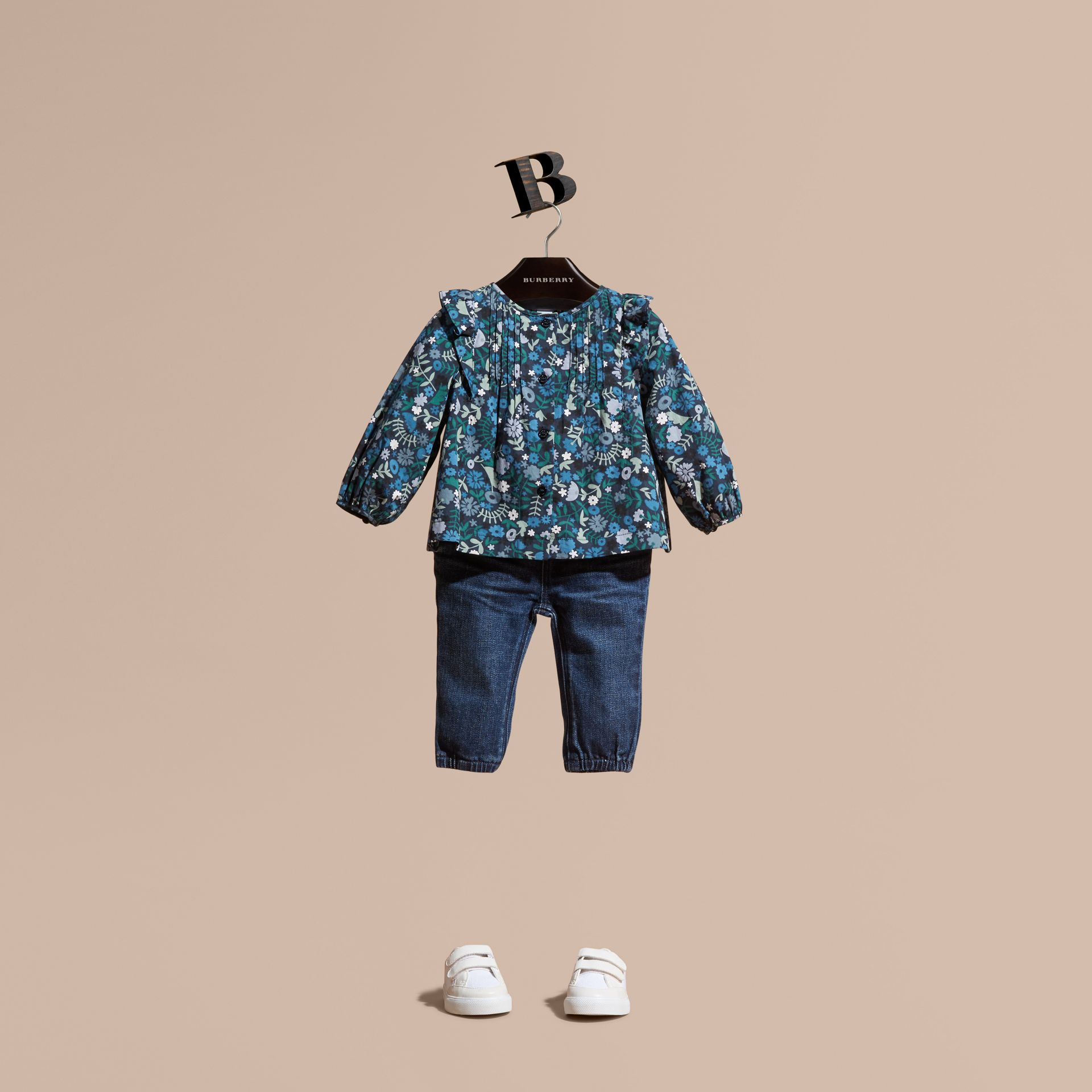 Hydrangea blue Floral Print Cotton Shirt with Ruffle Detail - gallery image 1