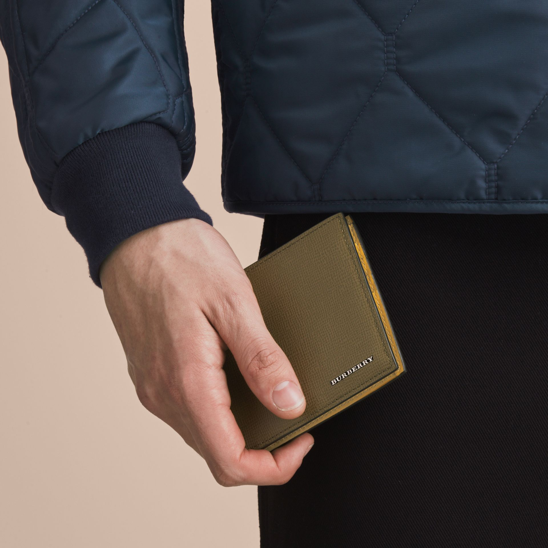 London Leather Folding Wallet in Olive Green | Burberry - gallery image 3
