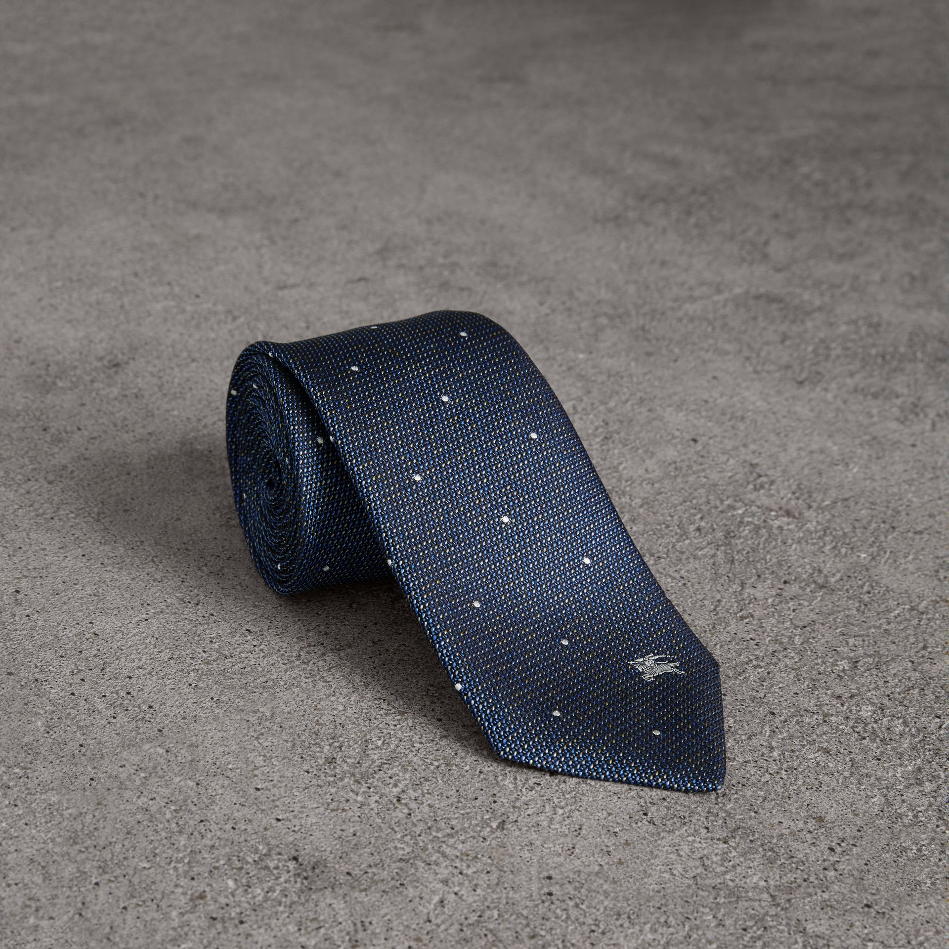 Modern Cut Pin Dot Silk Tie in Steel Blue - Men | Burberry - gallery image 0