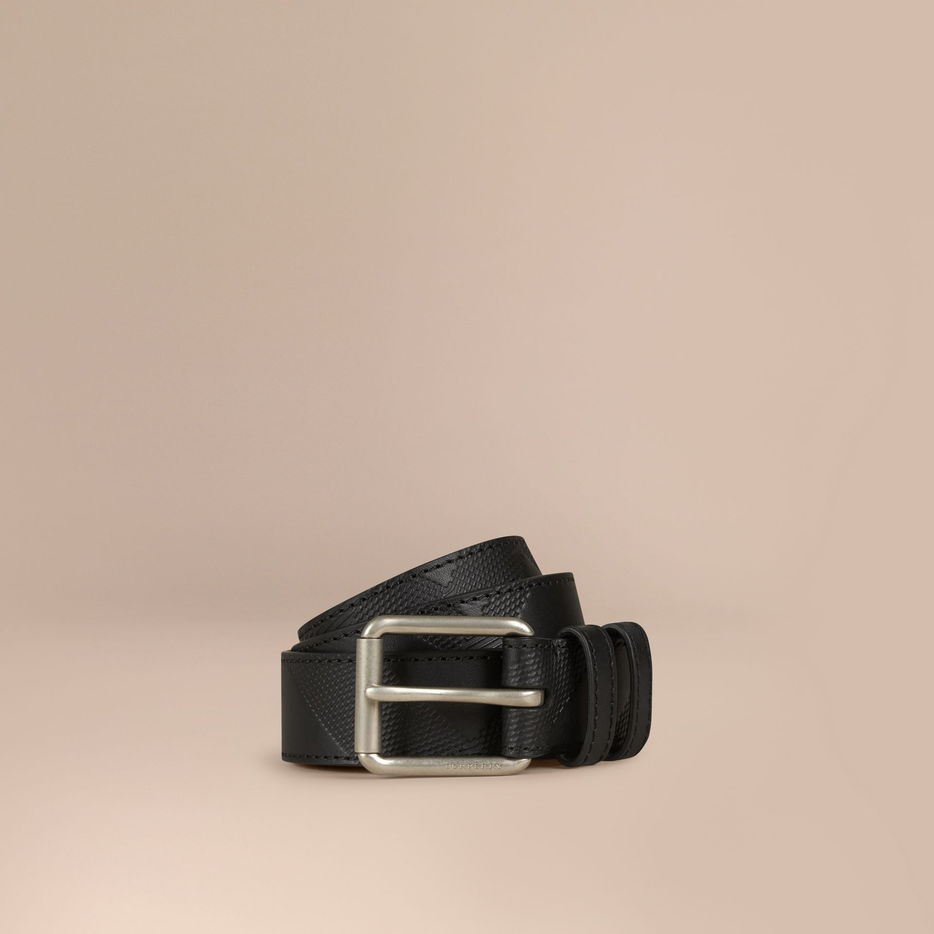 Black Check-Embossed Leather Belt Black - gallery image 1