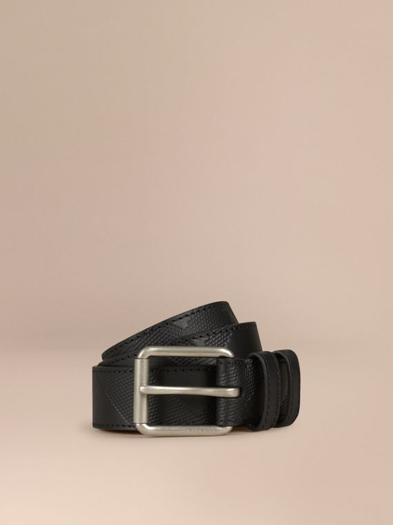 Check-Embossed Leather Belt Black