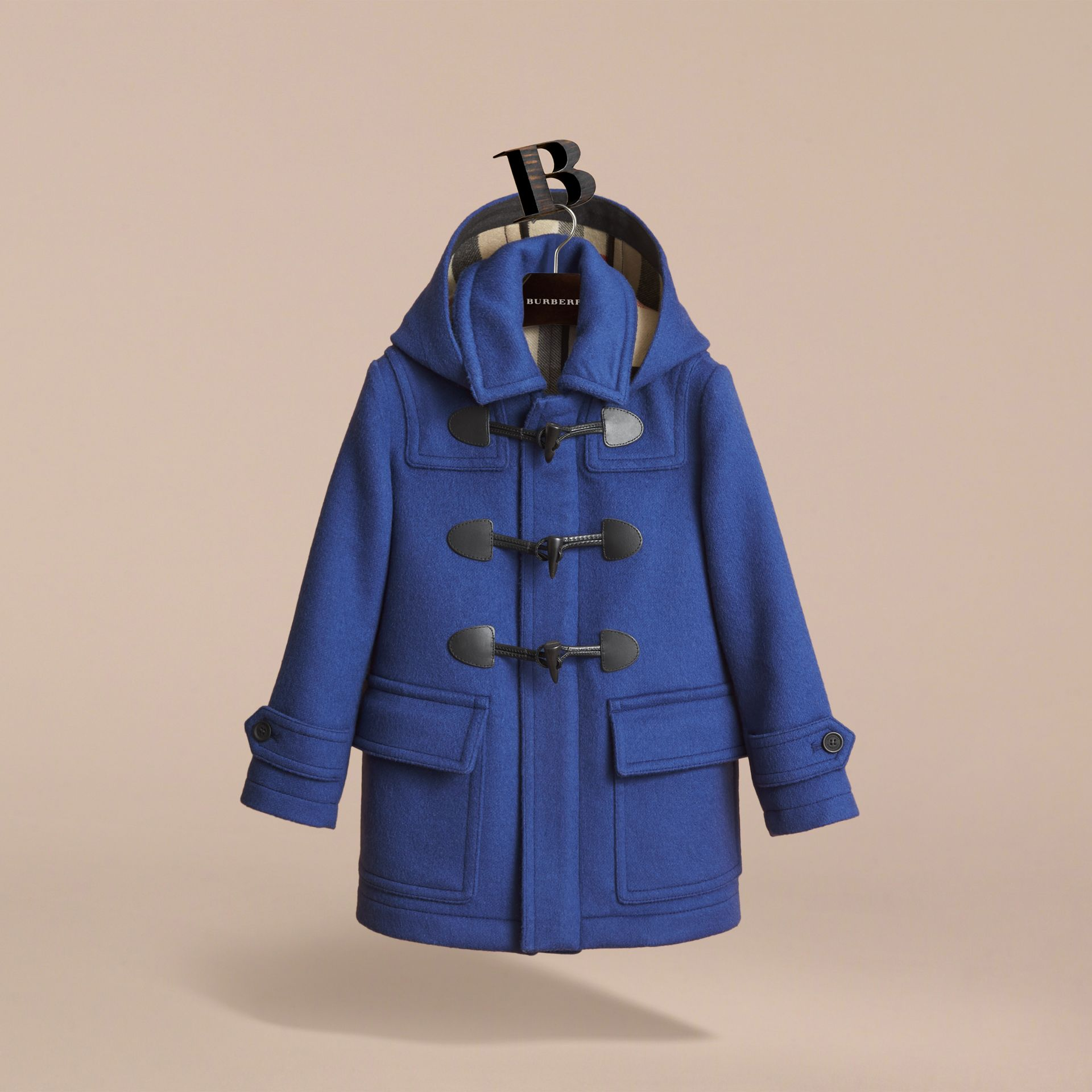 Hooded Wool Duffle Coat in Cobalt Blue - Boy | Burberry Canada - gallery image 3
