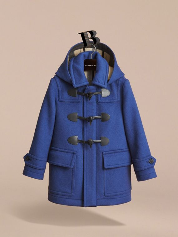 Hooded Wool Duffle Coat in Cobalt Blue - Boy | Burberry - cell image 2