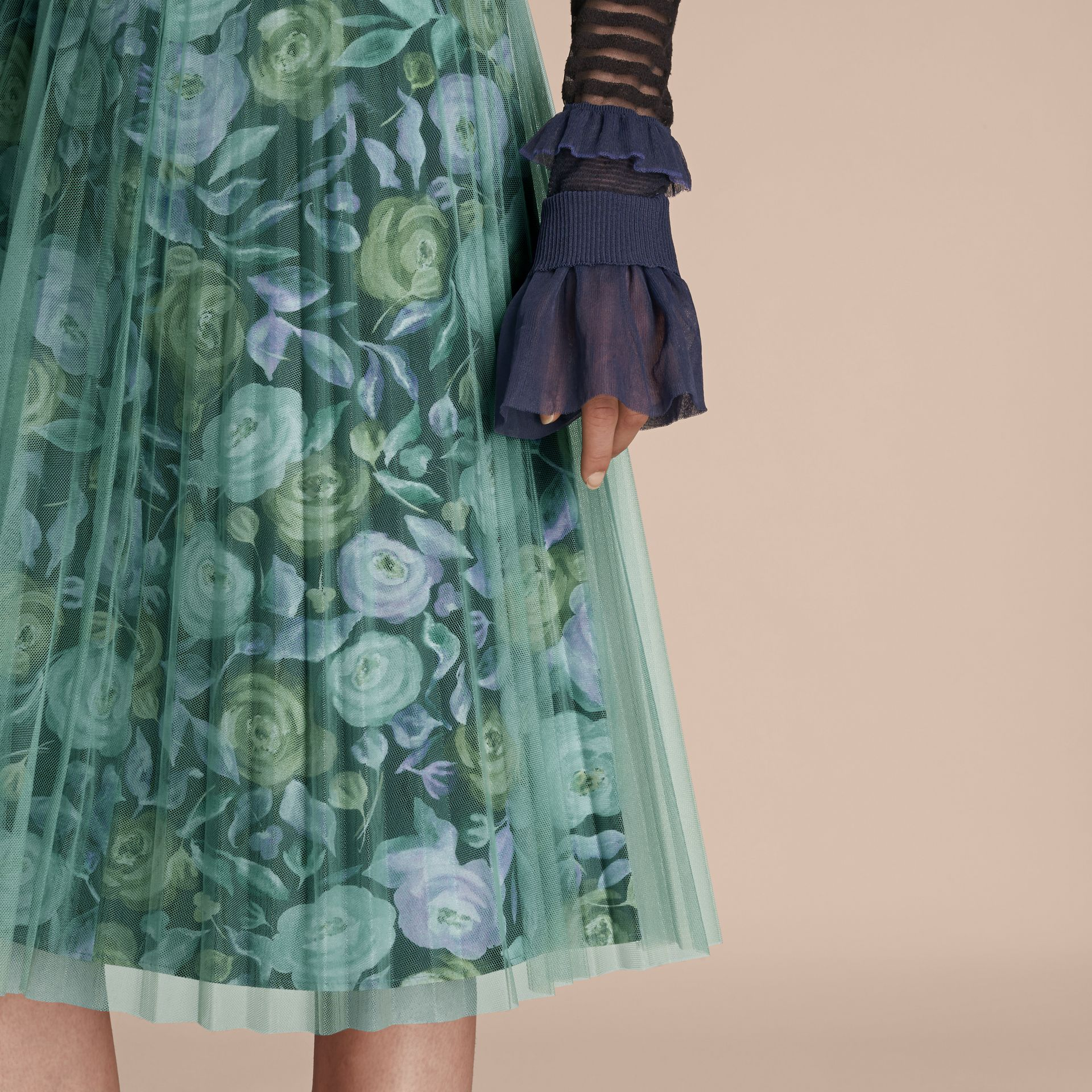 Watercolour Rose Print and Pleated Tulle Skirt in Aqua Green - gallery image 5