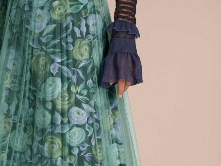 Watercolour Rose Print and Pleated Tulle Skirt in Aqua Green - cell image 4