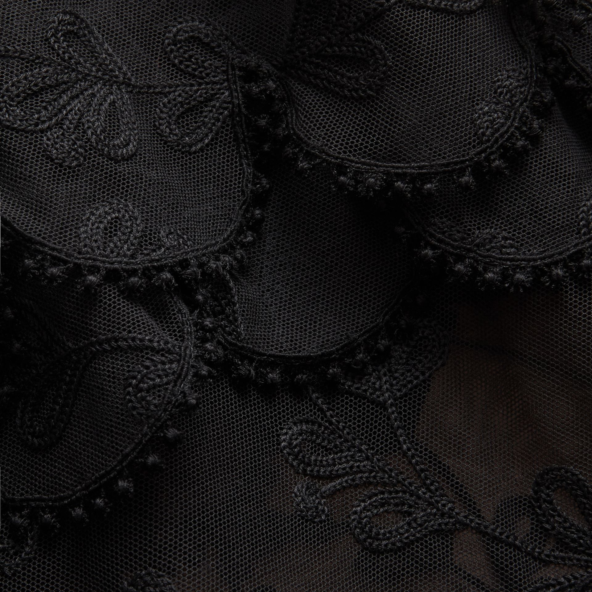 Short-sleeve Soutache Lace Tulle Dress in Black - Women | Burberry - gallery image 1