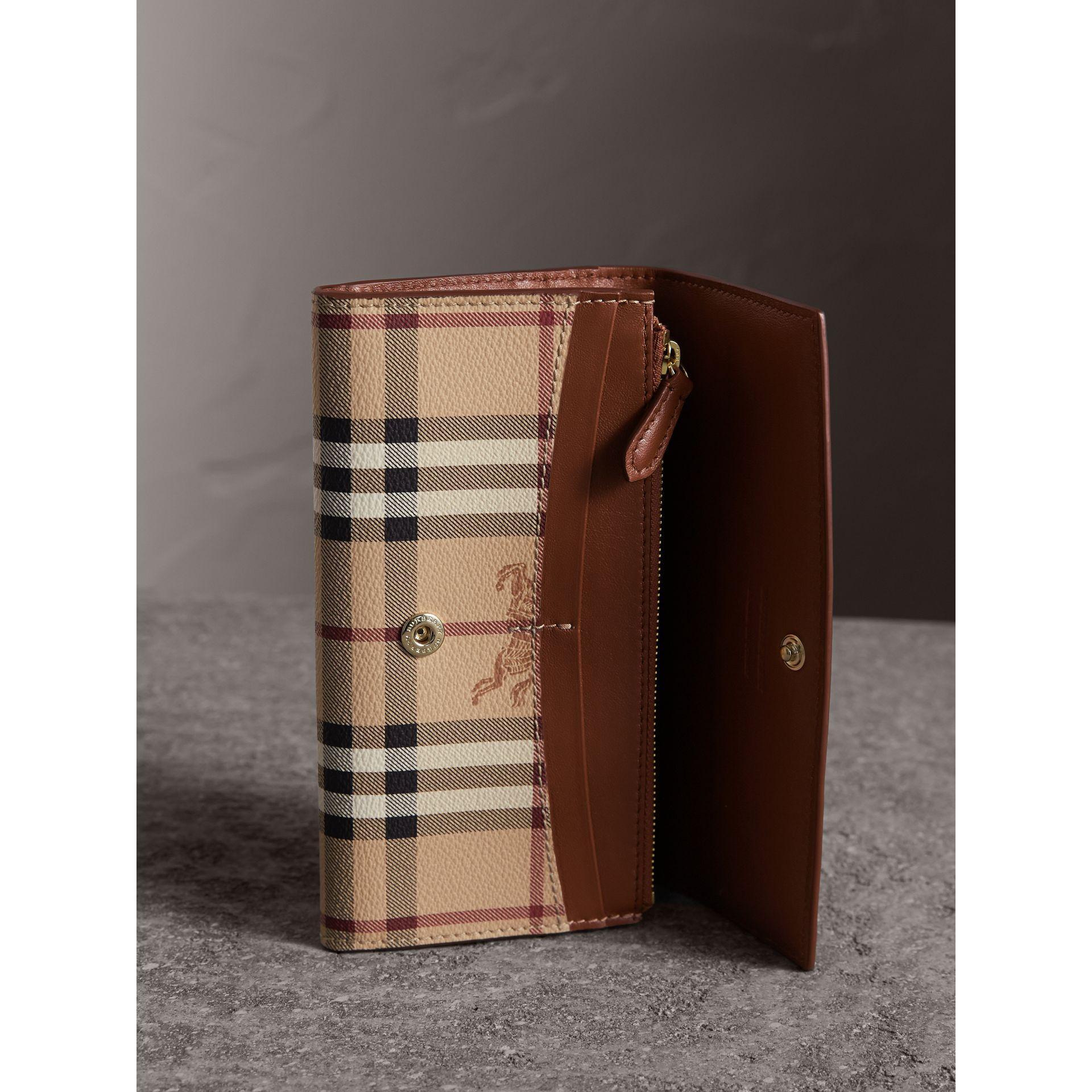 Haymarket Check and Leather Slim Continental Wallet in Mid Camel - Women | Burberry - gallery image 4