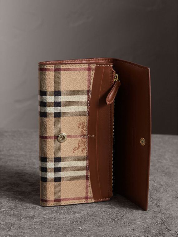 Haymarket Check and Leather Slim Continental Wallet in Mid Camel - Women | Burberry - cell image 3
