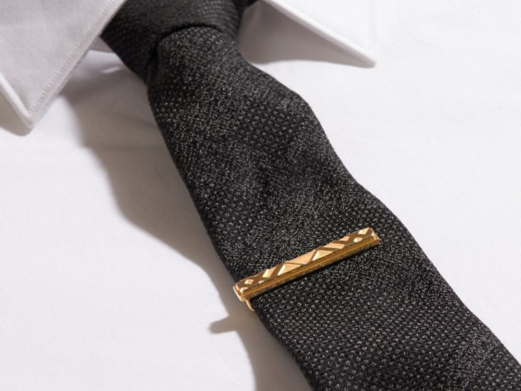 Check-engraved Tie Bar in Pale Gold - Men | Burberry - cell image 2