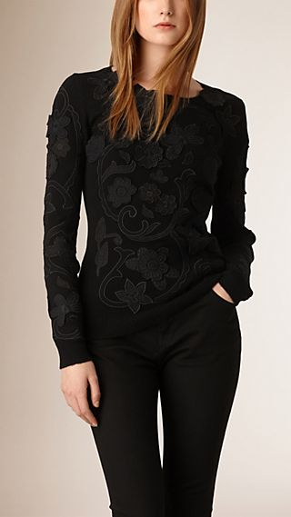 Lace Appliqué Cashmere Cotton Knitted Top