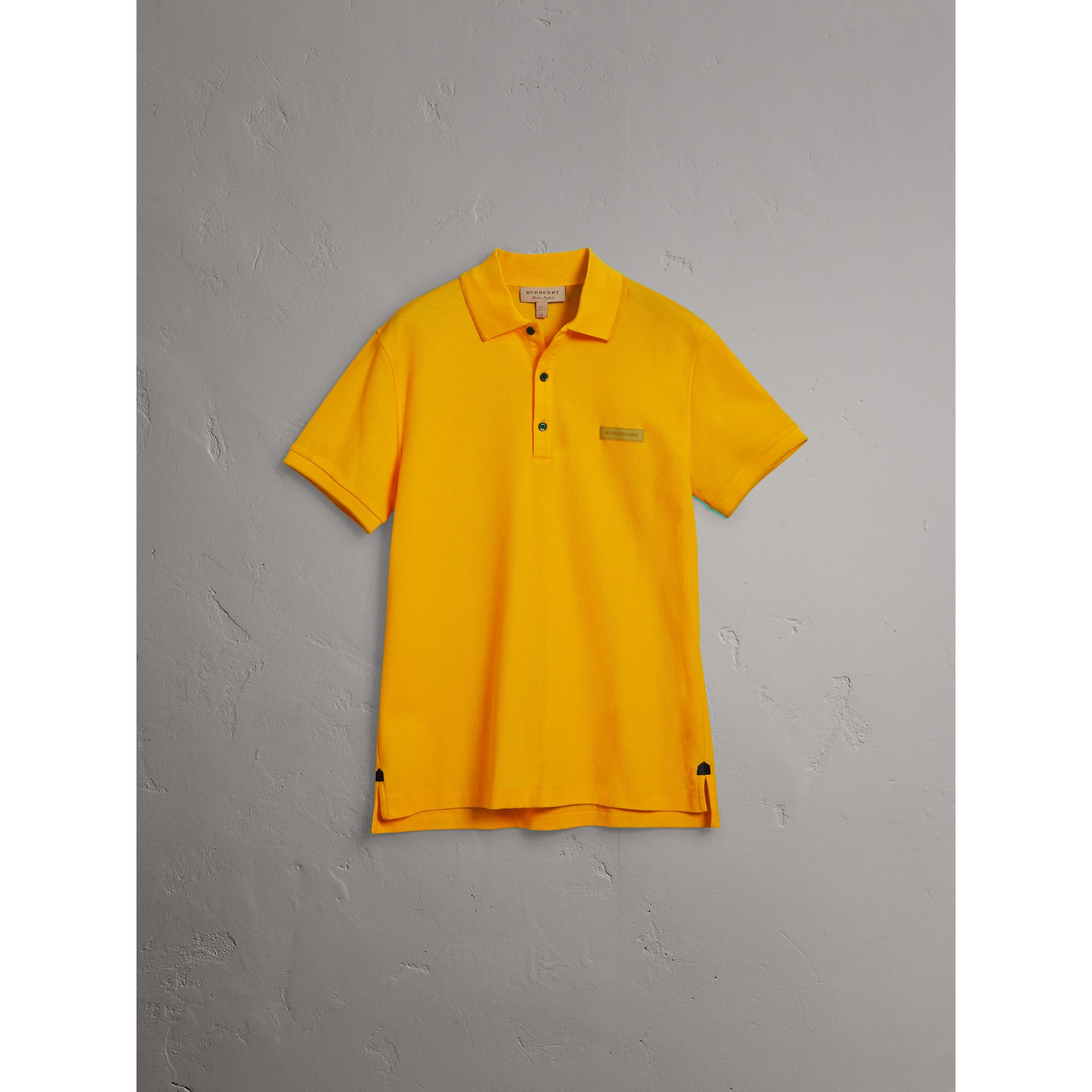 Cotton Piqué Polo Shirt in Bright Yellow - Men | Burberry Australia - gallery image 3