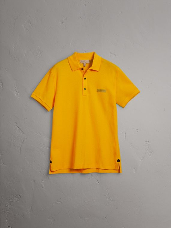 Cotton Piqué Polo Shirt in Bright Yellow - Men | Burberry Australia - cell image 3