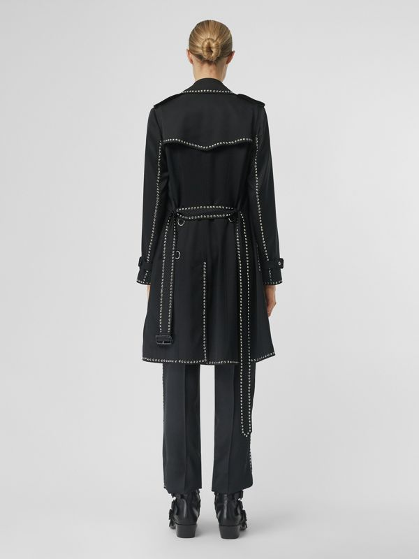 Studded Silk Satin Trench Coat in Black - Women | Burberry - cell image 2