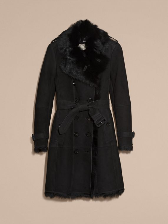 Trench coat in shearling (Nero) - Donna | Burberry - cell image 3