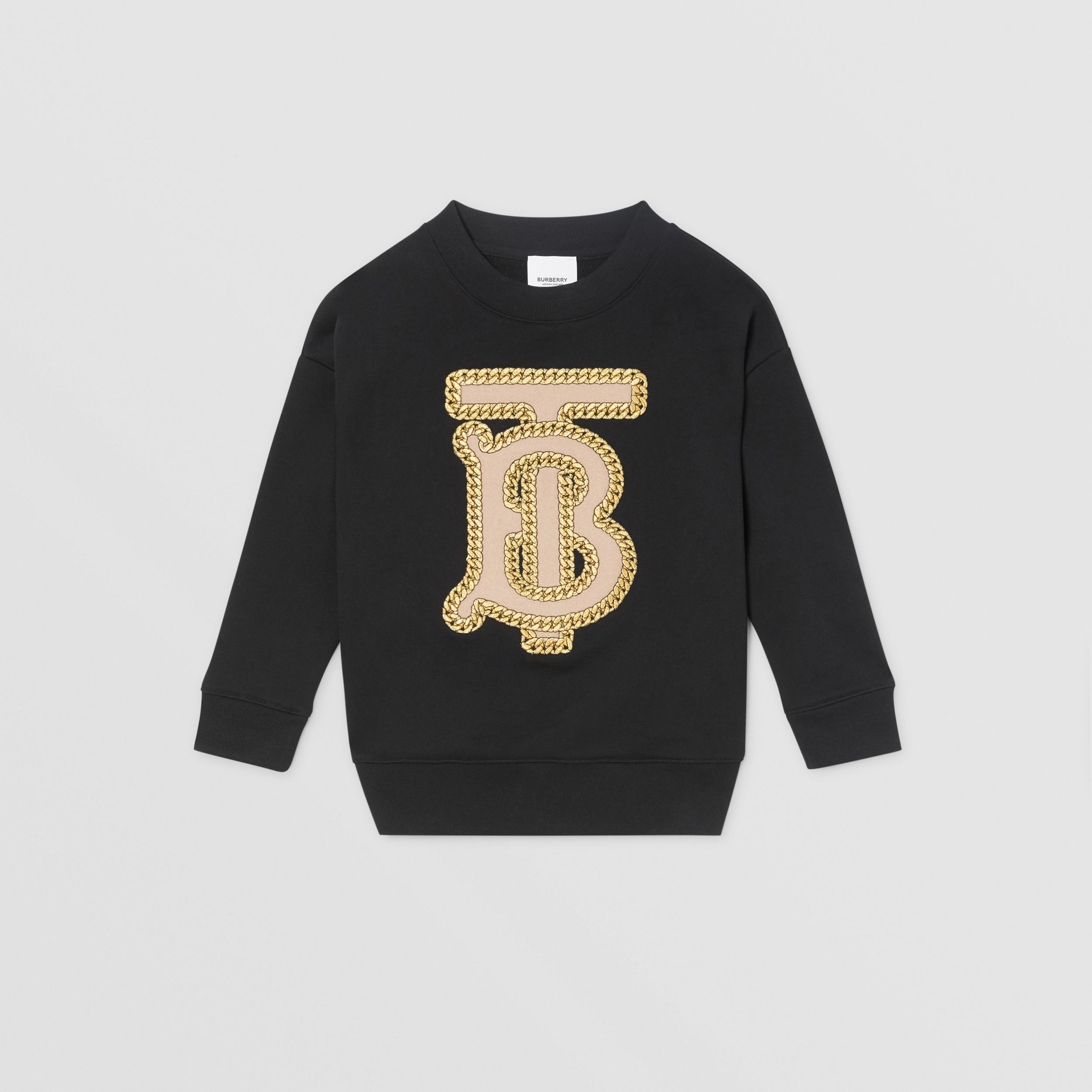 Embroidered Monogram Motif Cotton Sweatshirt in Black | Burberry - 1