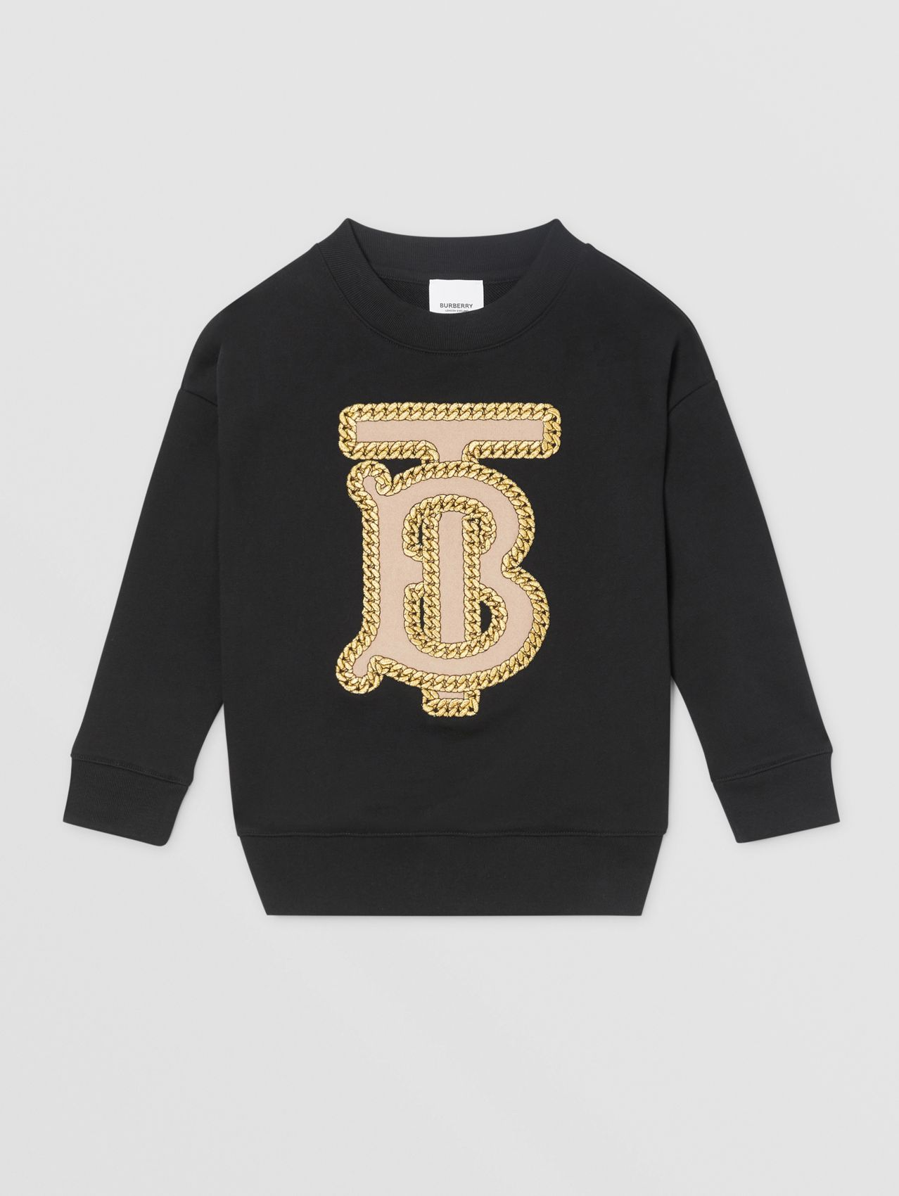 Sweat-shirt en coton Monogram brodé in Noir