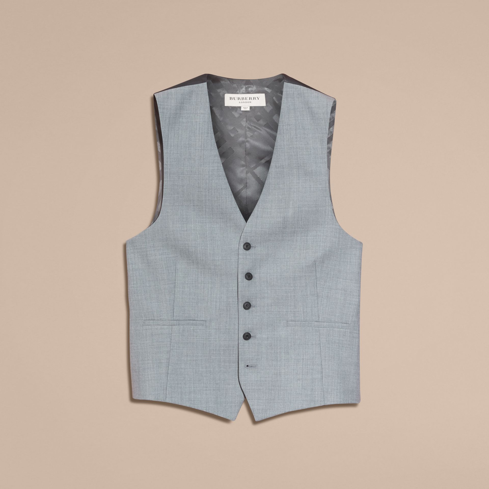 Light grey melange Modern Fit Wool and Satin Panel Waistcoat - gallery image 4