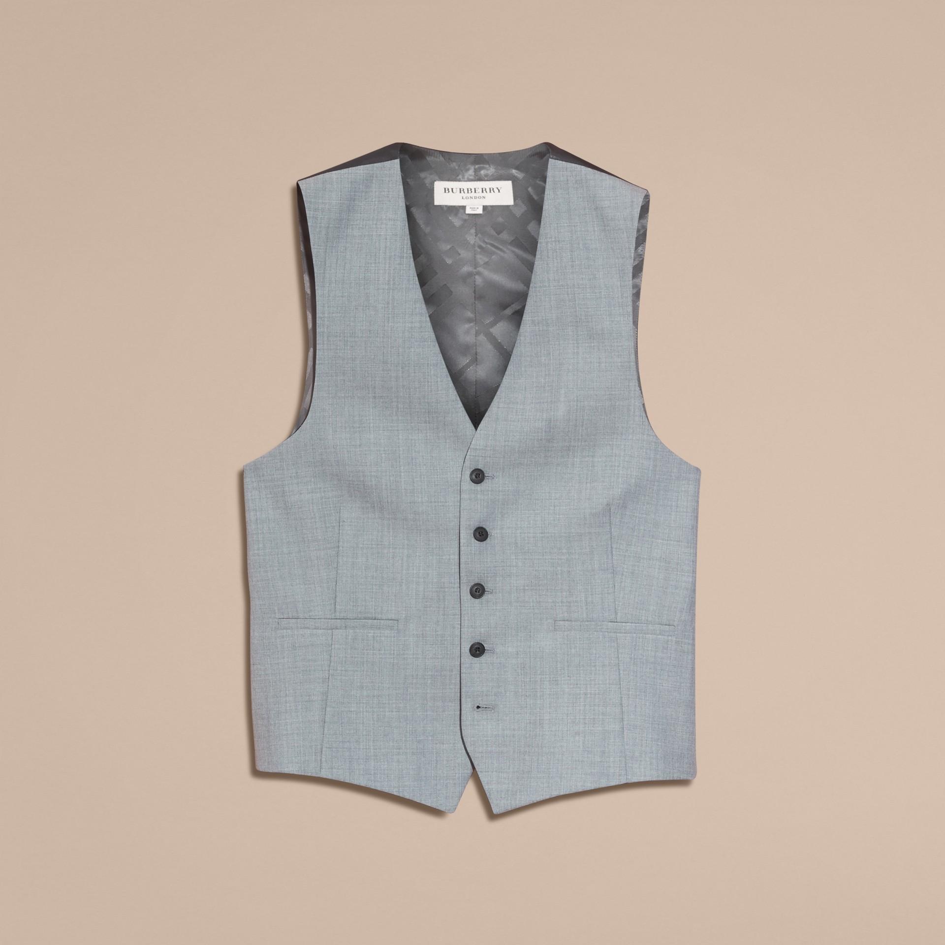 Hellgrau meliert Modern geschnittener Waistcoat aus Wolle mit Satinpanel - Galerie-Bild 4