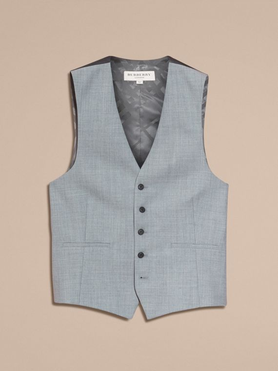 Light grey melange Modern Fit Wool and Satin Panel Waistcoat - cell image 3