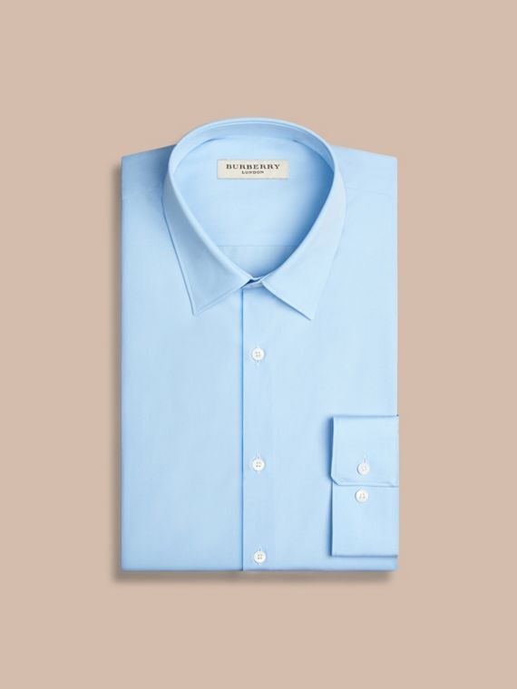 Modern Fit Cotton Poplin Shirt in City Blue - Men | Burberry - cell image 3