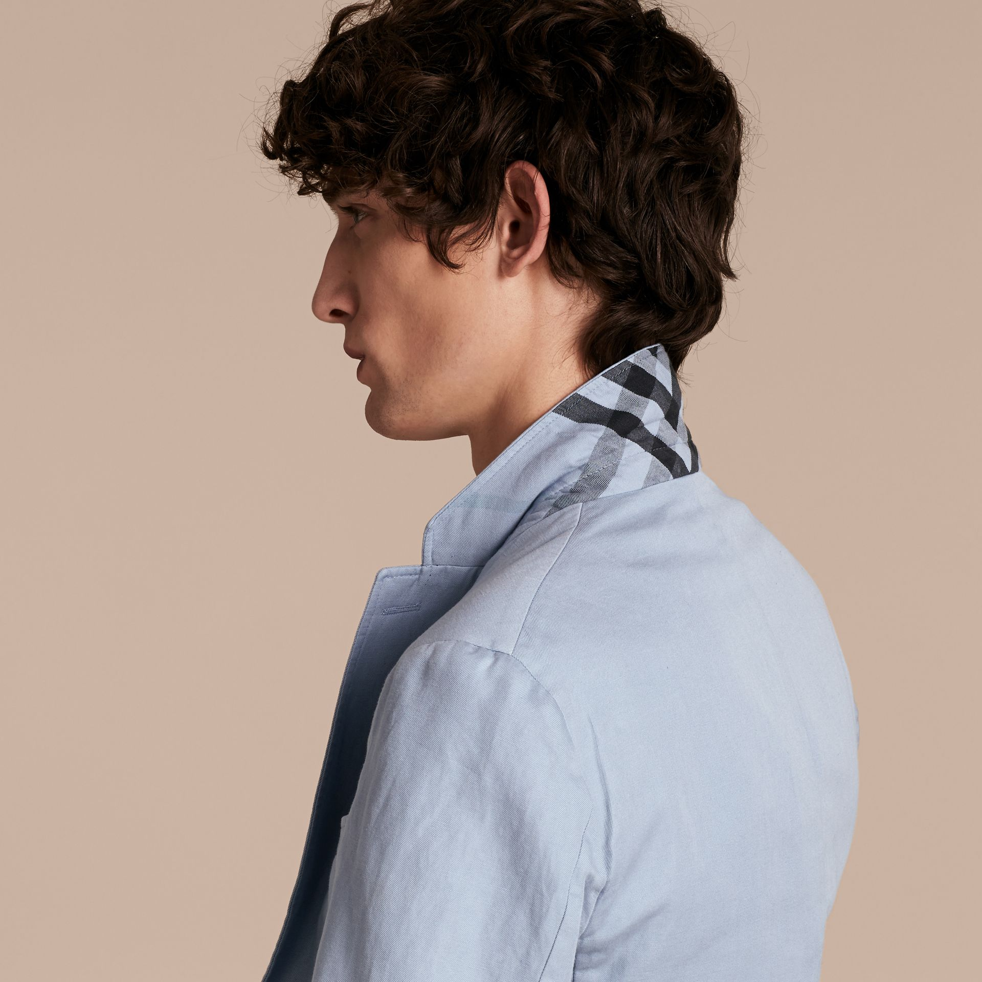 Slim Fit Cotton Linen Jacket in Pale Blue - Men | Burberry - gallery image 4