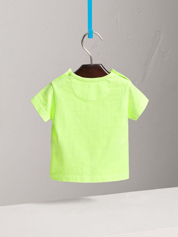 Doodle Print Cotton Jersey T-shirt in Bright Lemon | Burberry - cell image 3
