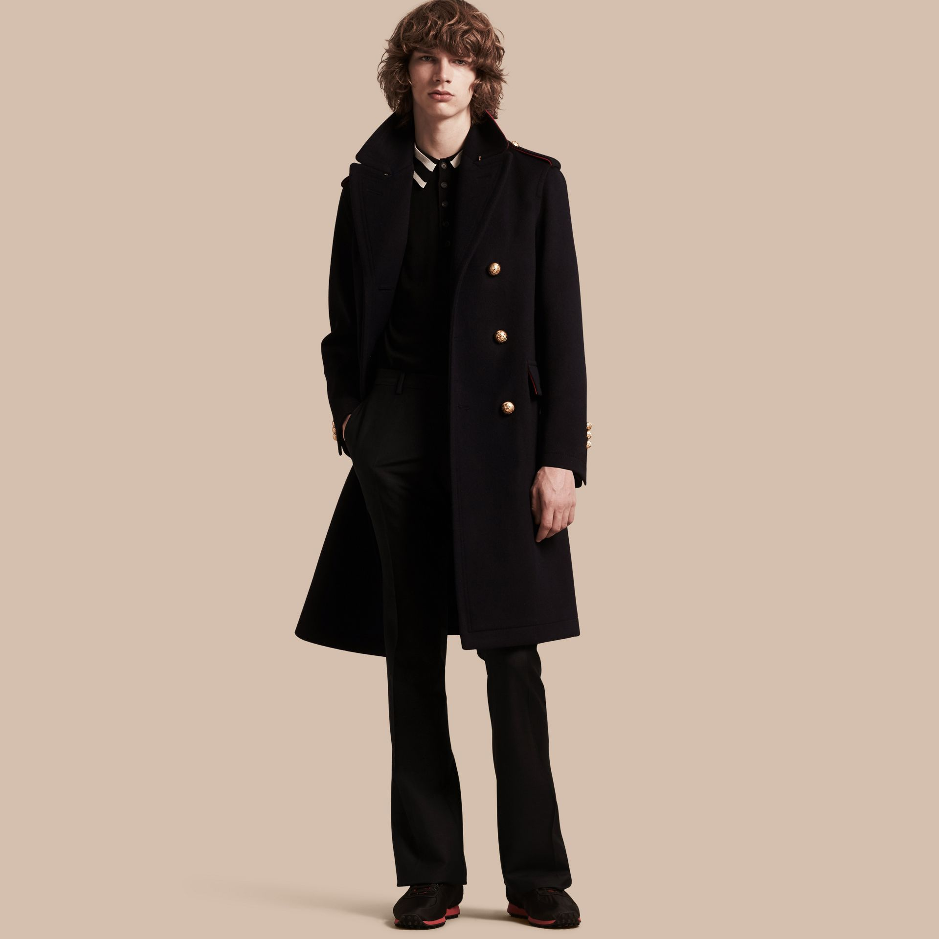 Navy Technical Wool Military Overcoat - gallery image 1